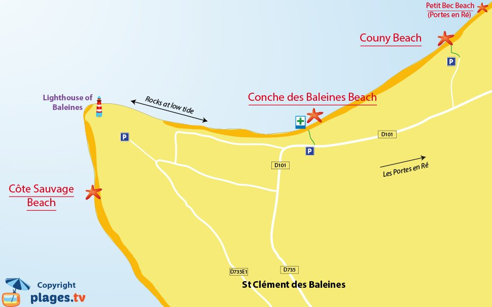 Map of Saint-Cl�ment-des-Baleines beaches in Re island - France