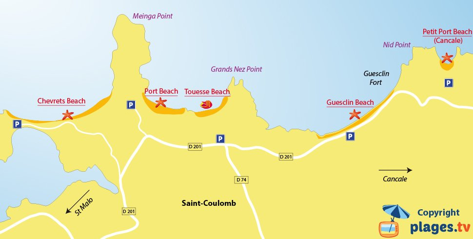 Map of the Saint-Coulomb beaches in France (Brittany)