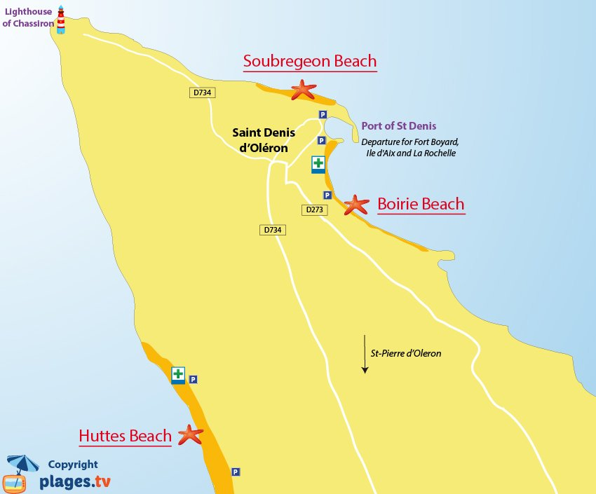 Map of Saint-Denis d'Oleron beaches in France