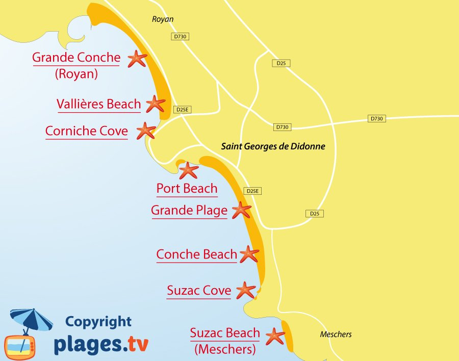 Map of St Georges de Didonne beaches in France