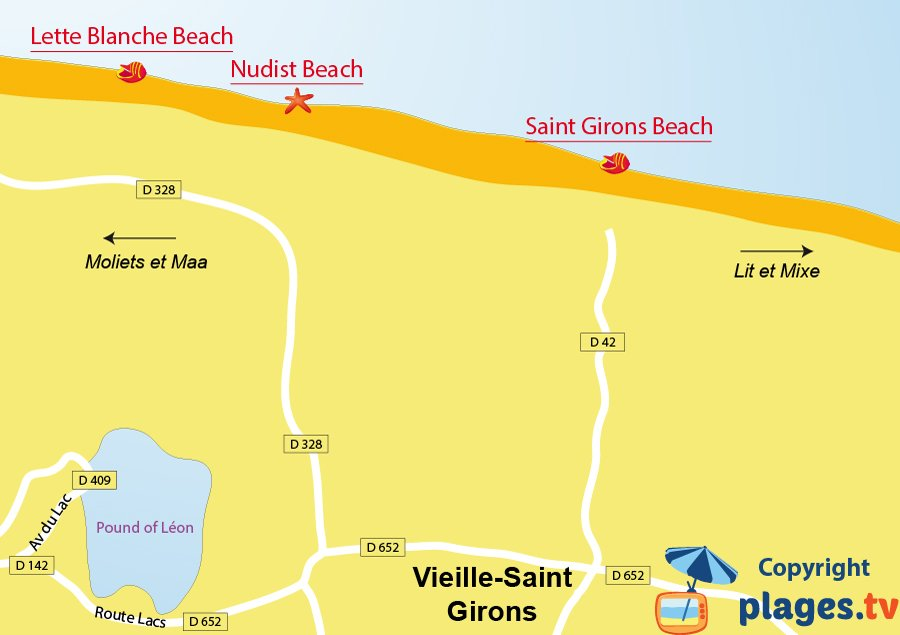 Map of Vielle-Saint-Girons beaches in France