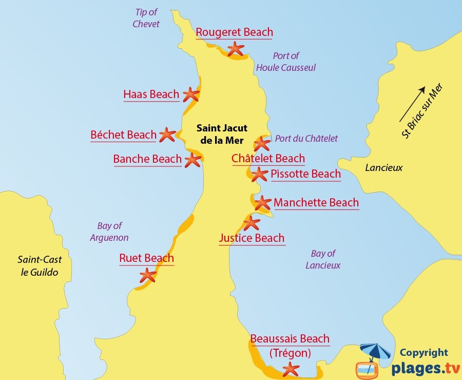 Map of Saint Jacut de la Mer beaches in France