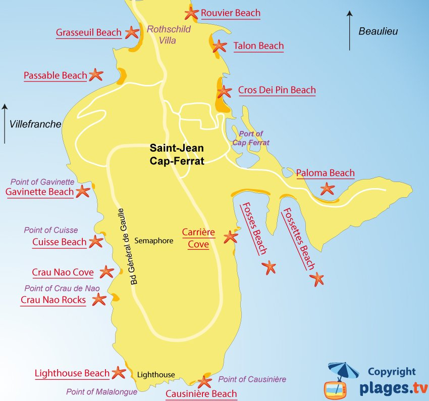 Map of Saint Jean Cap Ferrat beaches in France