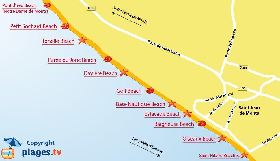 Map of Saint Jean de Monts beaches in France
