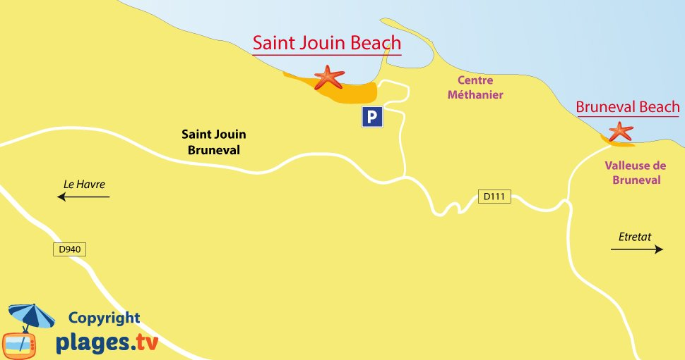 Map of Saint Jouin Bruneval beaches in France - Normandy
