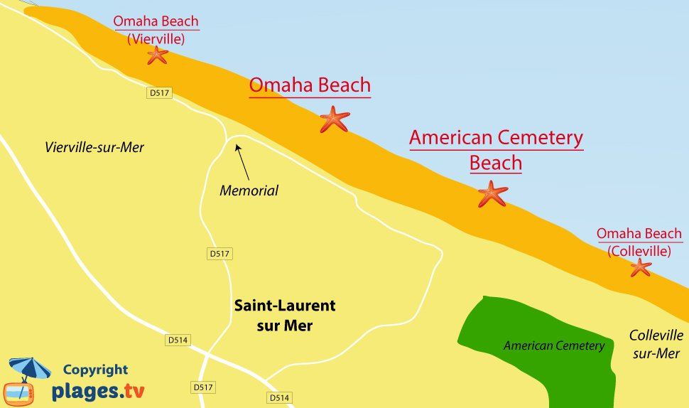 Map of Saint Laurent sur Mer beaches in Normandy - France