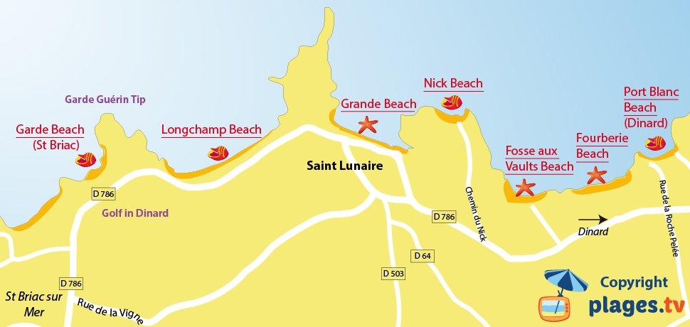 Map of Saint-Lunaire beach in France (Brittany)