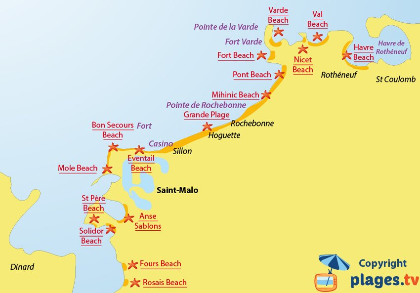 Map of the Saint-Malo beaches in France