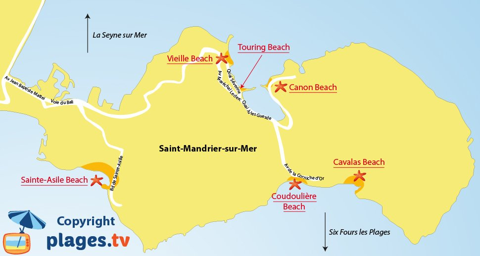 Map of Saint Mandrier beaches in France