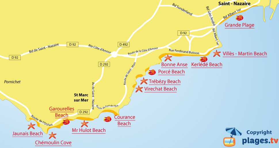 Map of Saint-Nazaire beaches in France