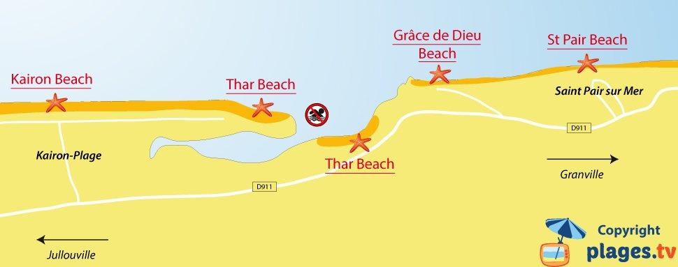 Map of Saint Pair sur Mer beaches in France