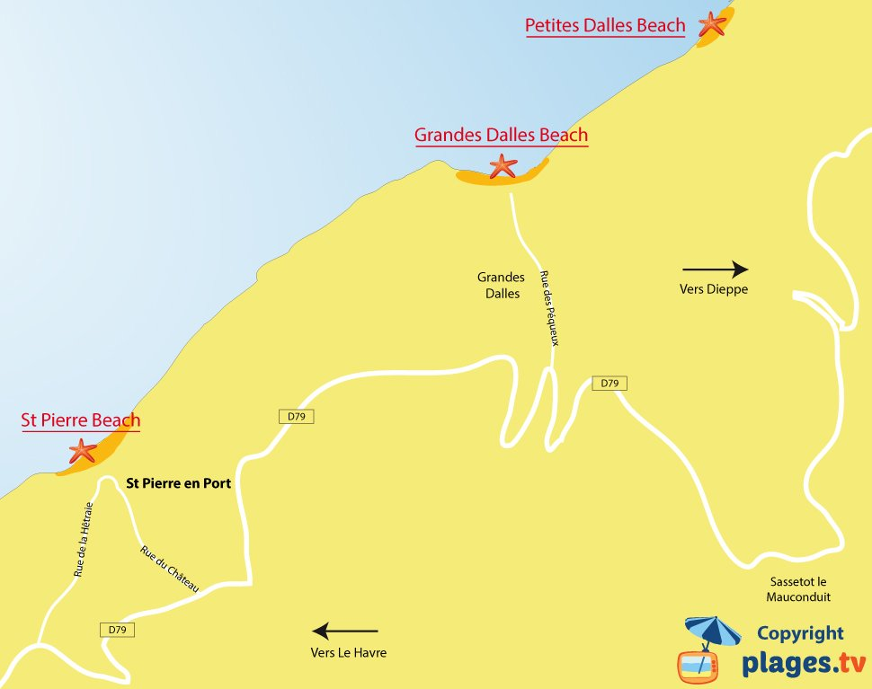 Map of Saint-Pierre-en-Port beaches in Normandy - France