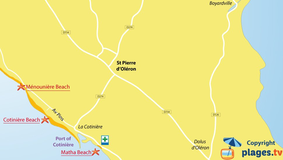 Map of Saint-Pierre-d'Oléron beaches - Oleron island - France