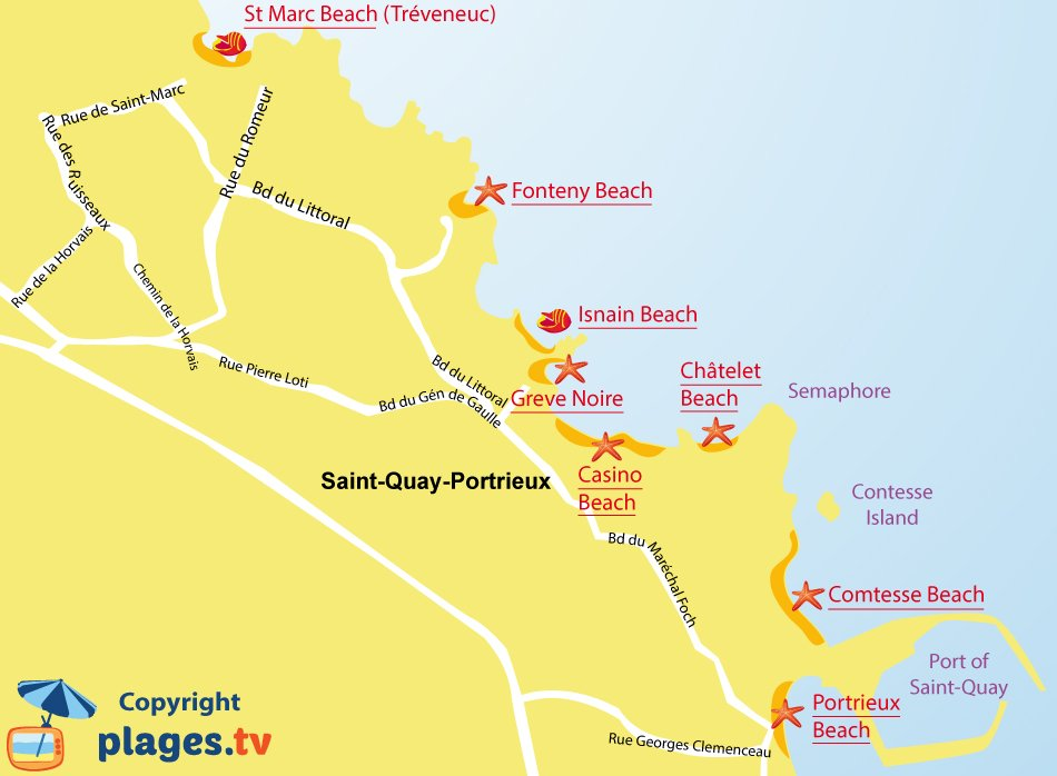 Map of St Quay Portrieux beaches in Brittany - France