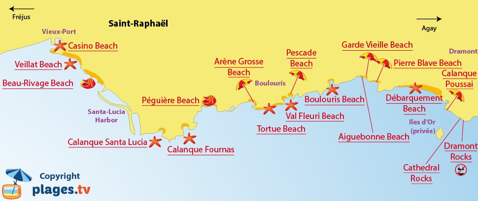 Map of Saint-Raphael beaches in France