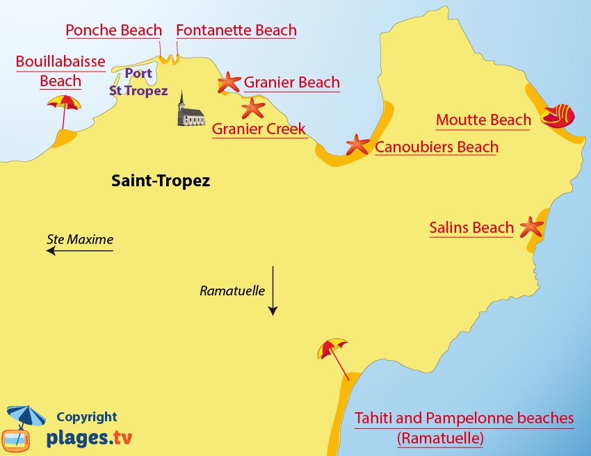 Map of the different beaches in Saint Tropez (France)
