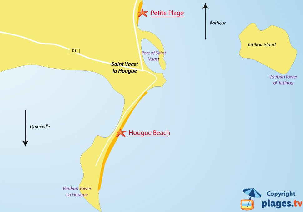 Map of Saint Vaast la Hougue beaches in France