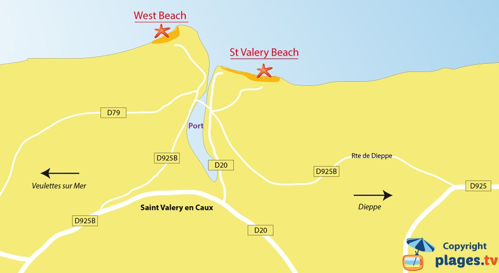 Map of Saint Valery en Caux beaches in France