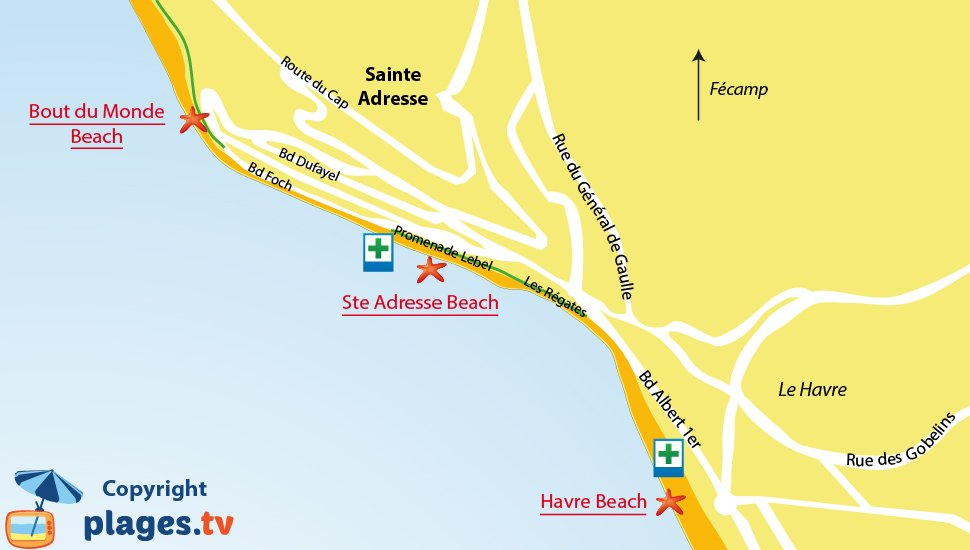 Map of Sainte Adresse beaches in France