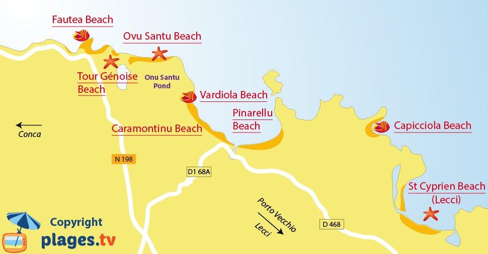 Map of Sainte Lucie de Porto Vecchio beaches - Corsica