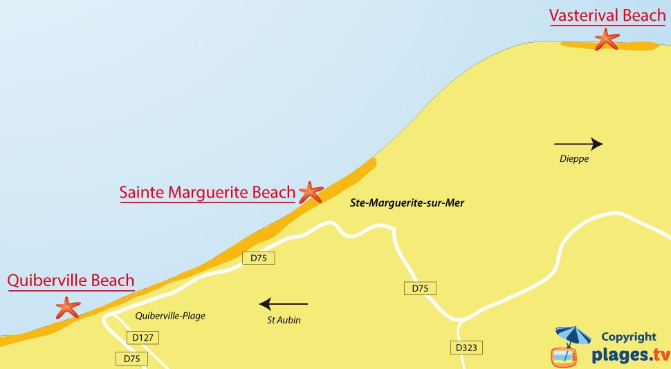 Map of Sainte Marguerite sur Mer beaches - France