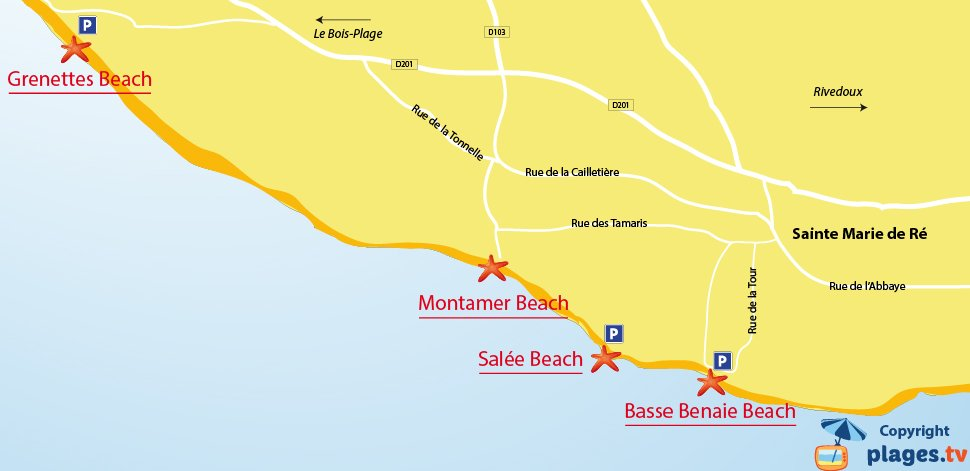 Map of Sainte-Marie-de-Ré beaches in France
