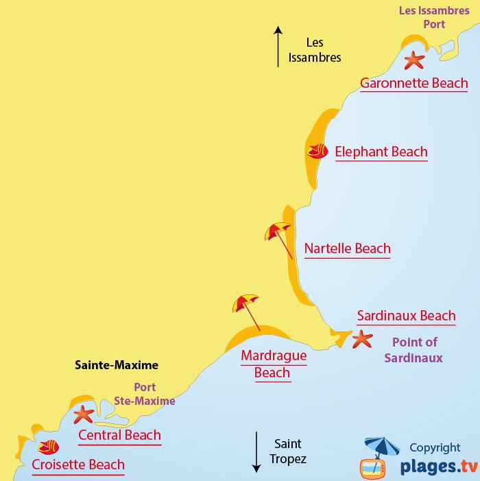 Map of Sainte Maxime beaches in France