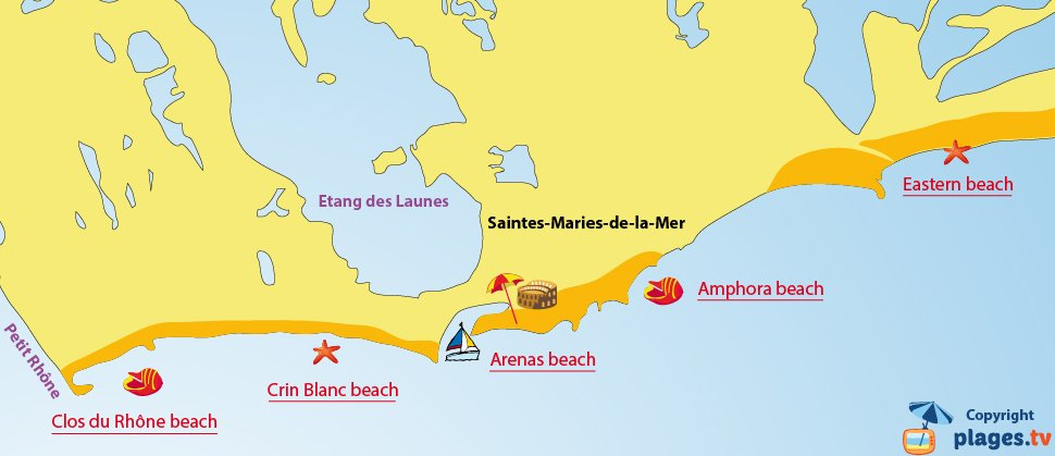 Map of the beaches of Saintes Maries de la Mer - France