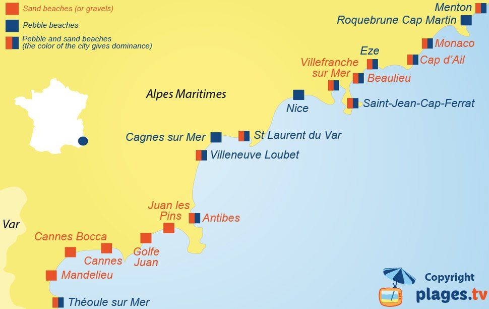 Map of the seaside resorts with sand and pebble beaches in the Alpes Maritimes in France