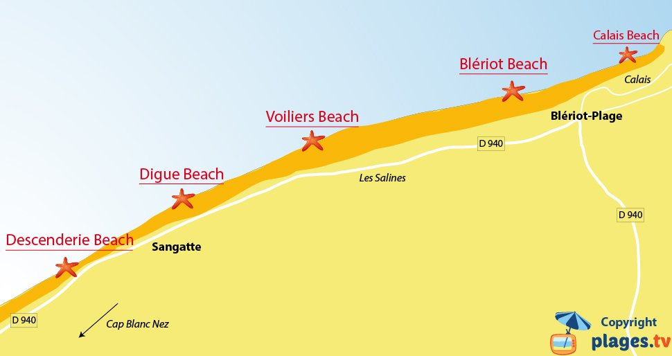 Map of the Sangatte beaches - North of France