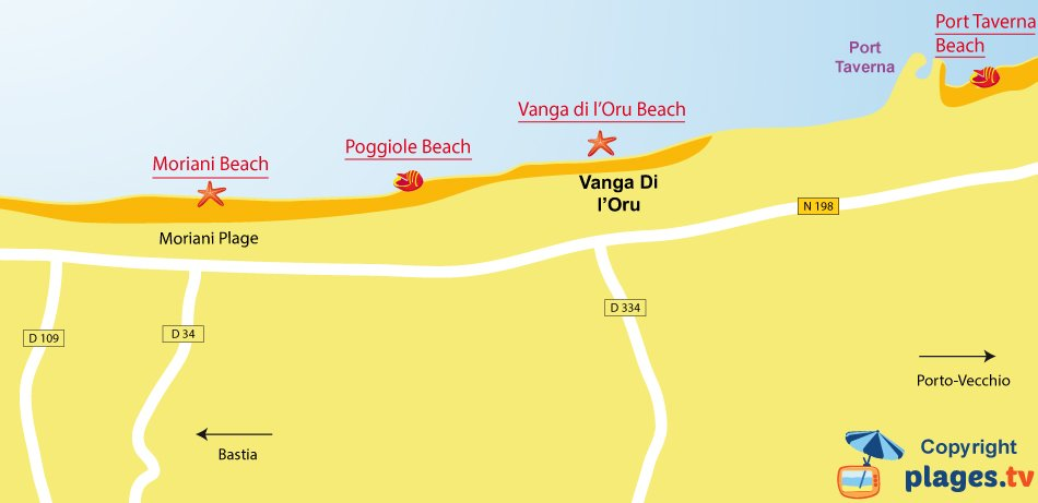 Map of Santa Maria Poggio beaches in Corsica