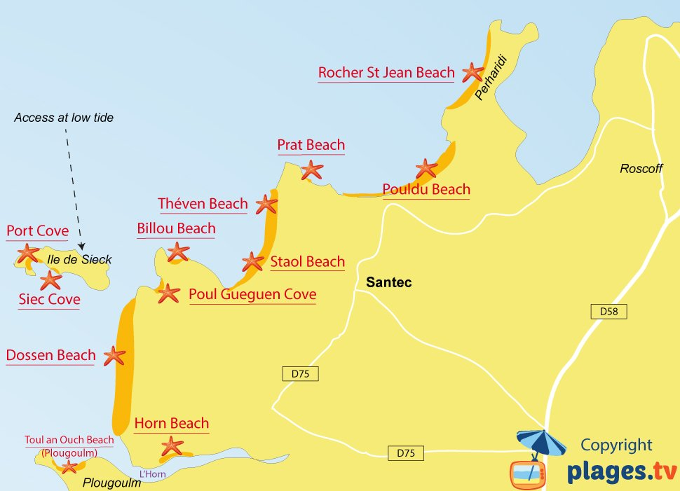 Map of Santec beaches in Brittany