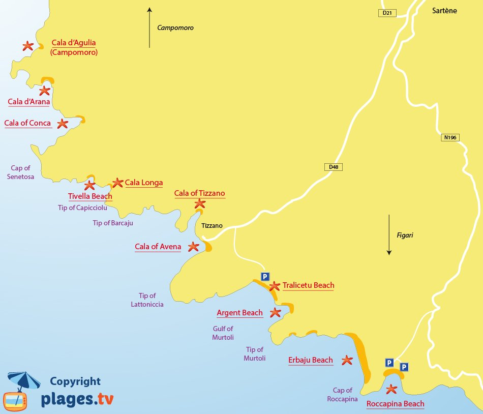 Map of Sartène beaches in Corsica