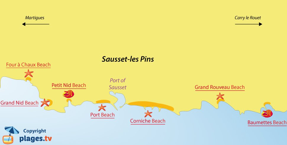 Map of Sausset les Pins beaches in France
