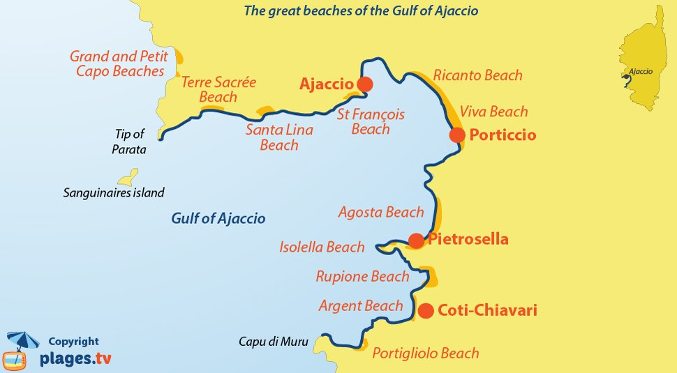 Map of the beautiful beaches in the gulf of Ajaccio in Corsica
