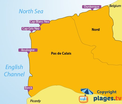 Map Of North France.Beaches In The Nord Pas De Calais Region In France The Seaside