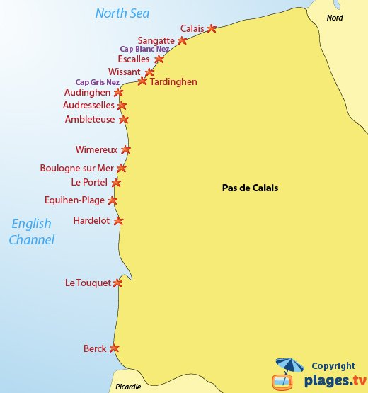 Map of the beaches and seaside resort in Pas de Calais in France