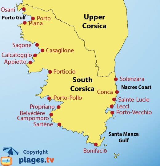 Map of the beaches and resort in South Corsica in France