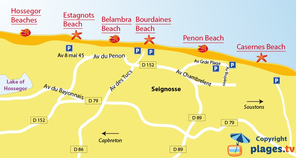 Map of Seignosse beaches in France