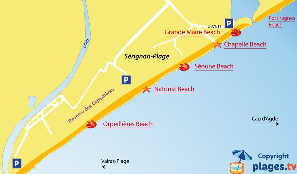 Map of Serignan beaches in France