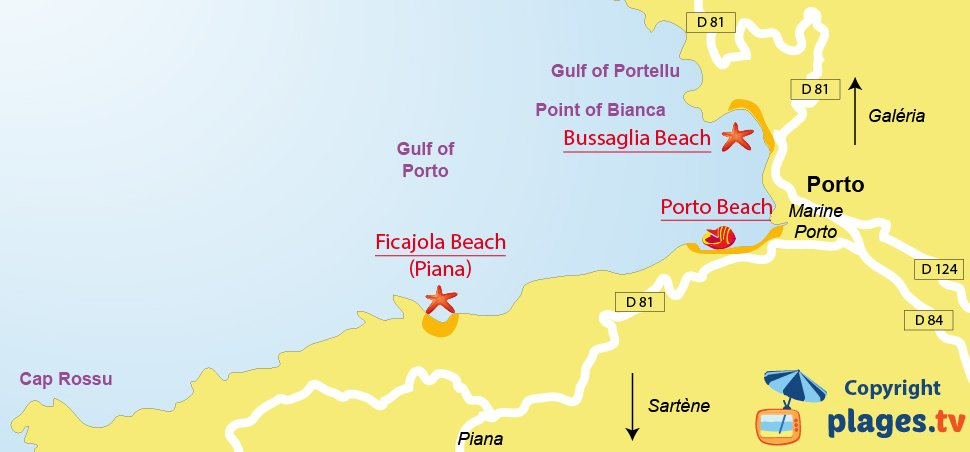 Map of Serriera beaches in Corsica - Porto Bay