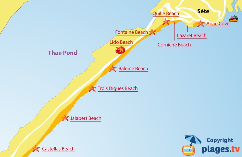 Map of Sete beaches in France