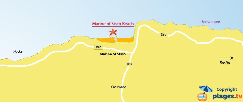 Map of Sisco beaches in Corsica