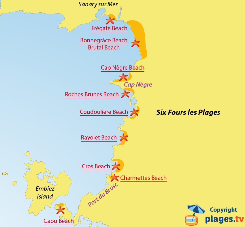 Map of Six Fours les Plages beaches in France