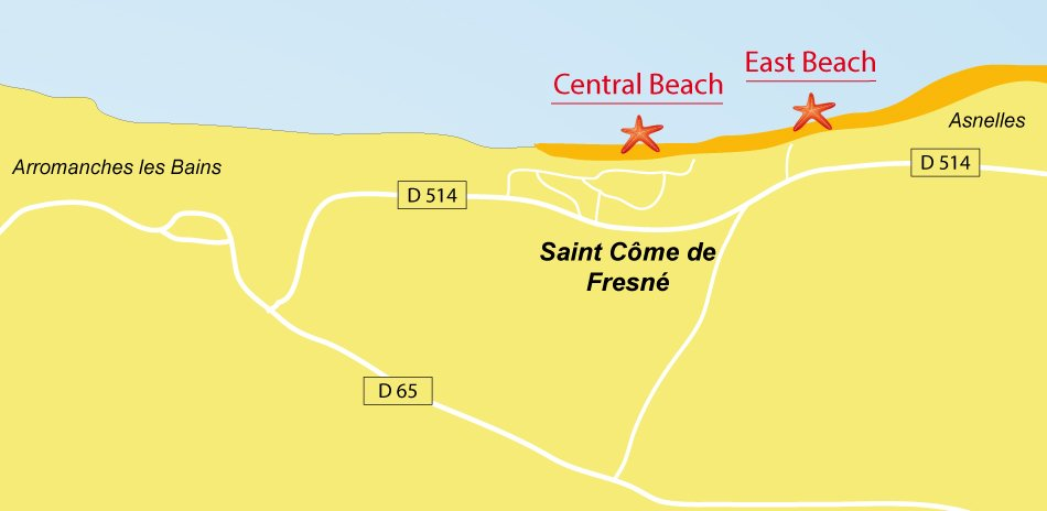 Map of St Come de Fresne beaches in Normandy