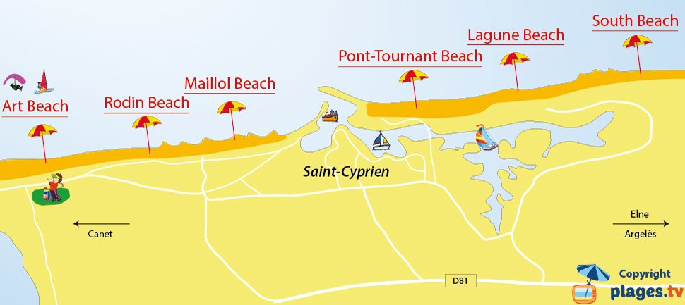 Map of Saint-Cyprien beaches in France