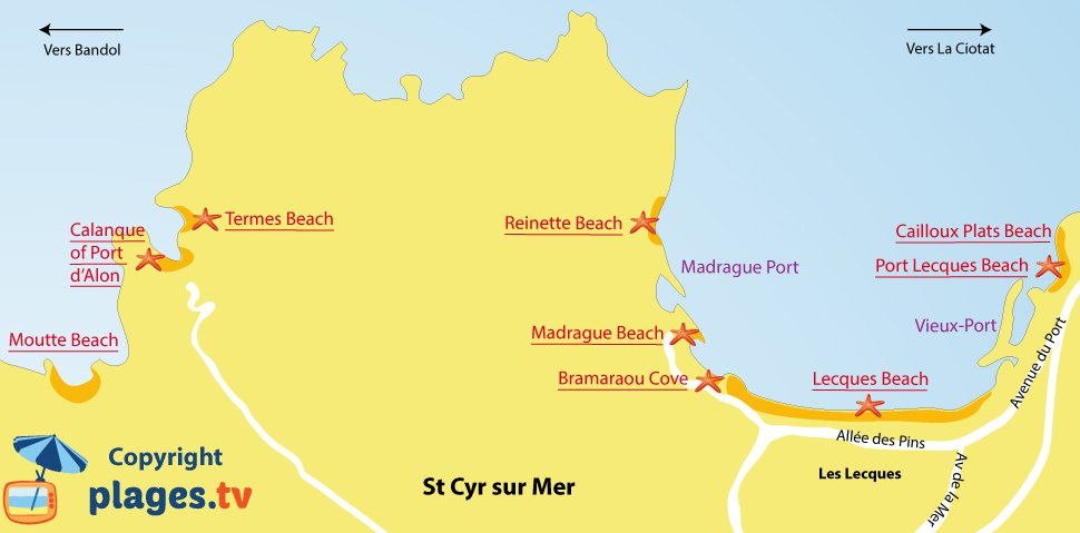 Map of Saint Cyr sur Mer beaches in France