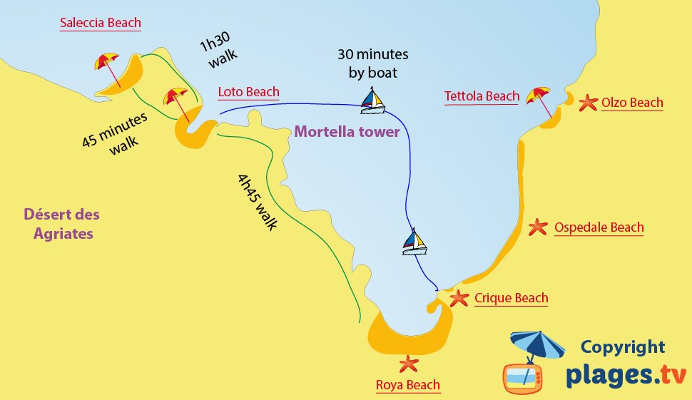 Map of Saint-Florent beaches in Corsica