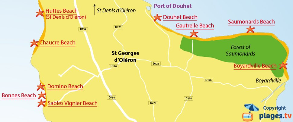 Map of St Georges d'Oléron beaches in France