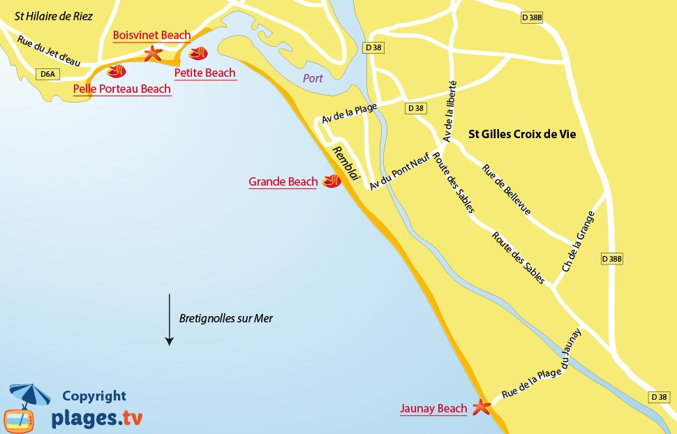 Map of Saint-Gilles-Croix-de-Vie beaches in France